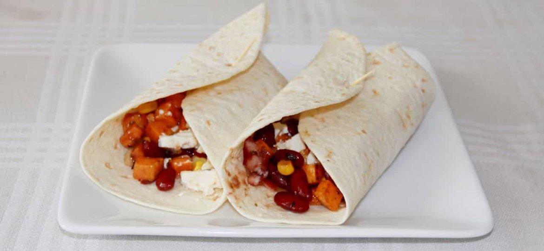 Burrito met zoete aardappel honing en fetakaas recept