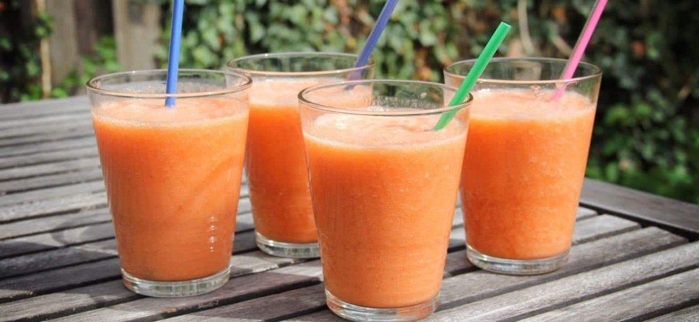 Recept Smoothie met perzik, aardbei en sinaasappel