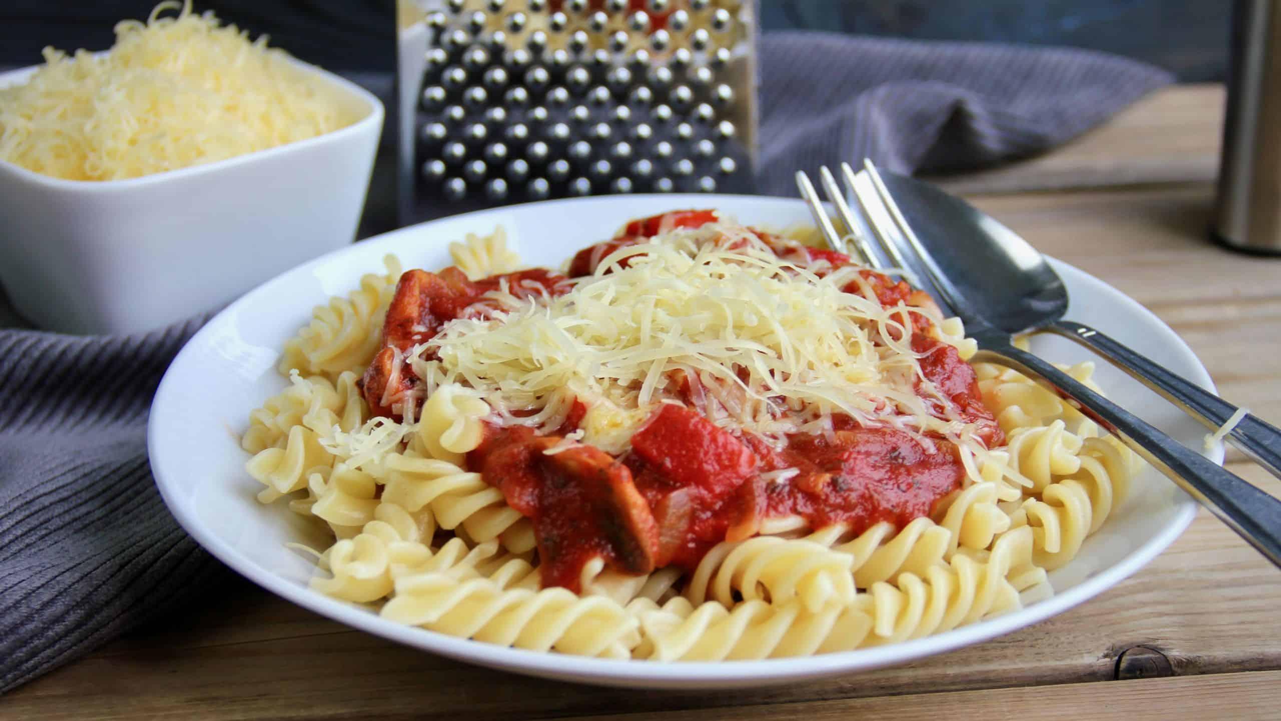 Fusilli met champignon en paprika recept 1