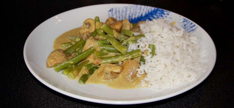 Champignons Tandoori met sperziebonen en rijst recept