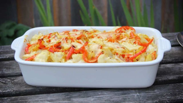 Budget bloemkool ovenschotel met paprika recept