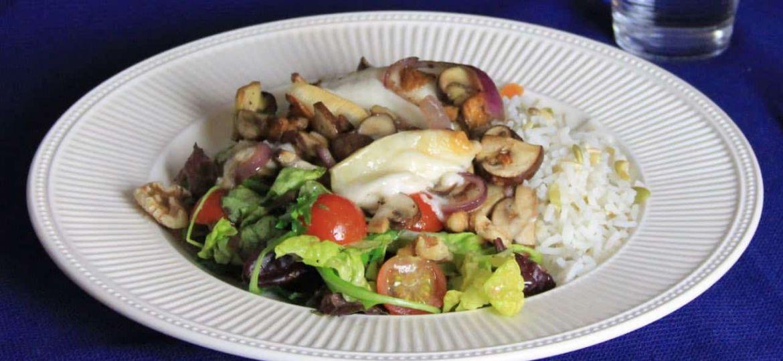 Paddestoelengratin met eikenbladsalade en notenrijst recept