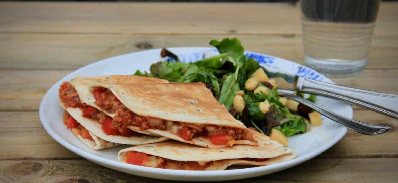Quesadilla met vegetarisch gehakt en paprika recept