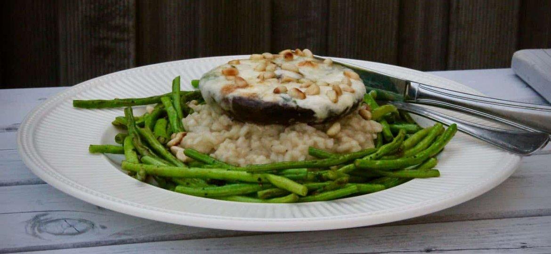 Portobello met gormas kousenband en risotto recept