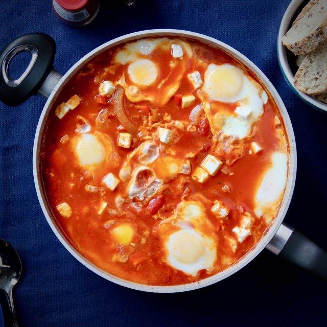 Shakshuka met feta en paprika receopt vierkant