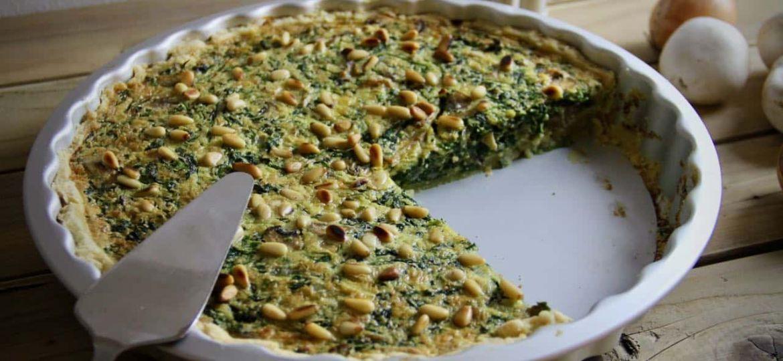 Spinazie champignon quiche recept voor
