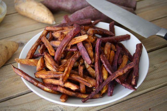 Zoete aardappel friet maken frituur 1