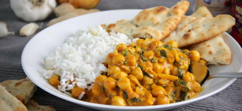 Curry met kikkererwten en kokosmelk. recept 1