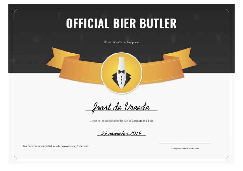 Bier Butler cursus Bier & Spijs certificaat
