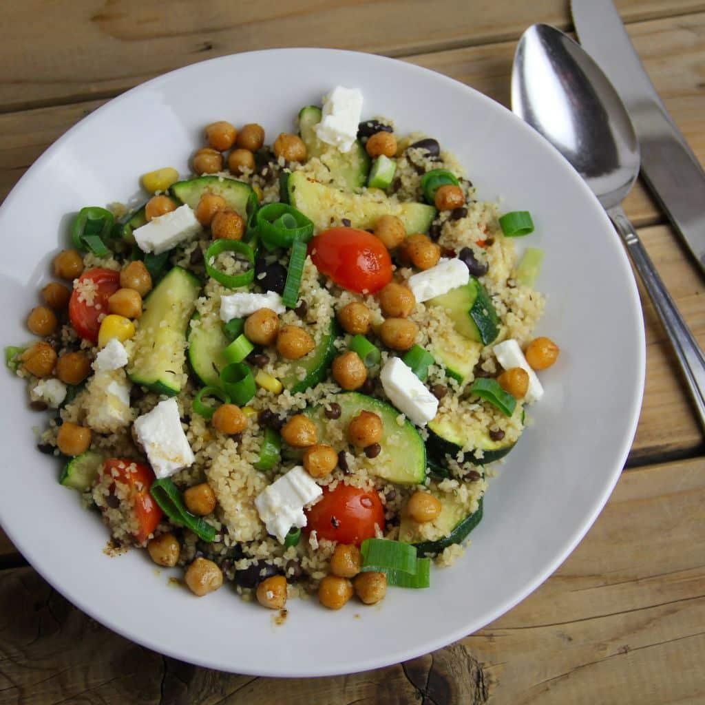 Bulgur met groenten en bonen recept vierkant