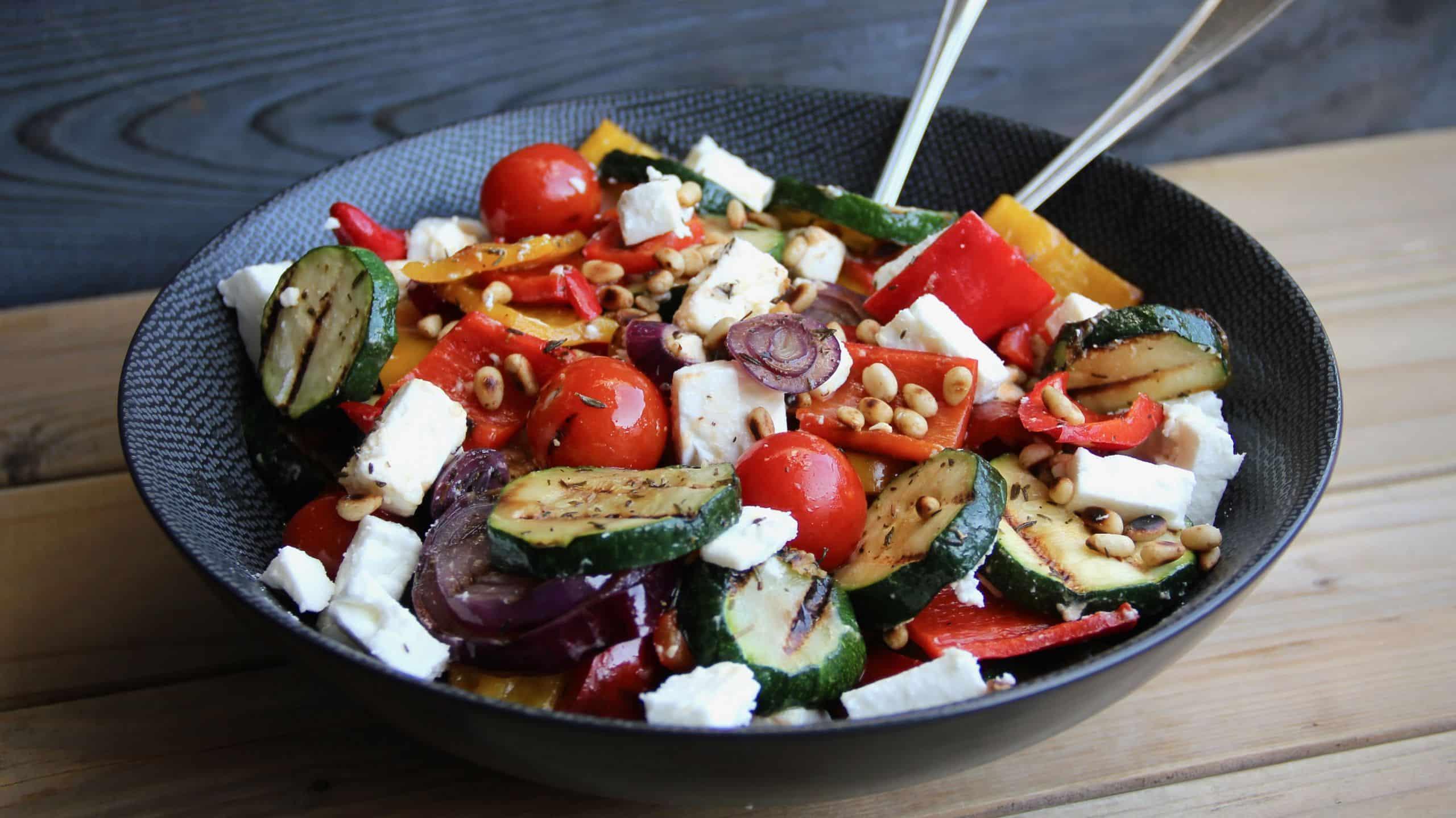 Gegrilde groenten salade met fèta recept
