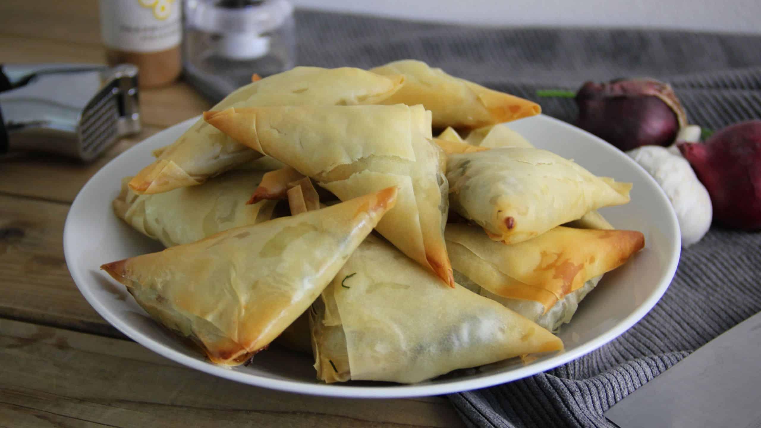 Spanakopita driehoekjes recept spinazie feta