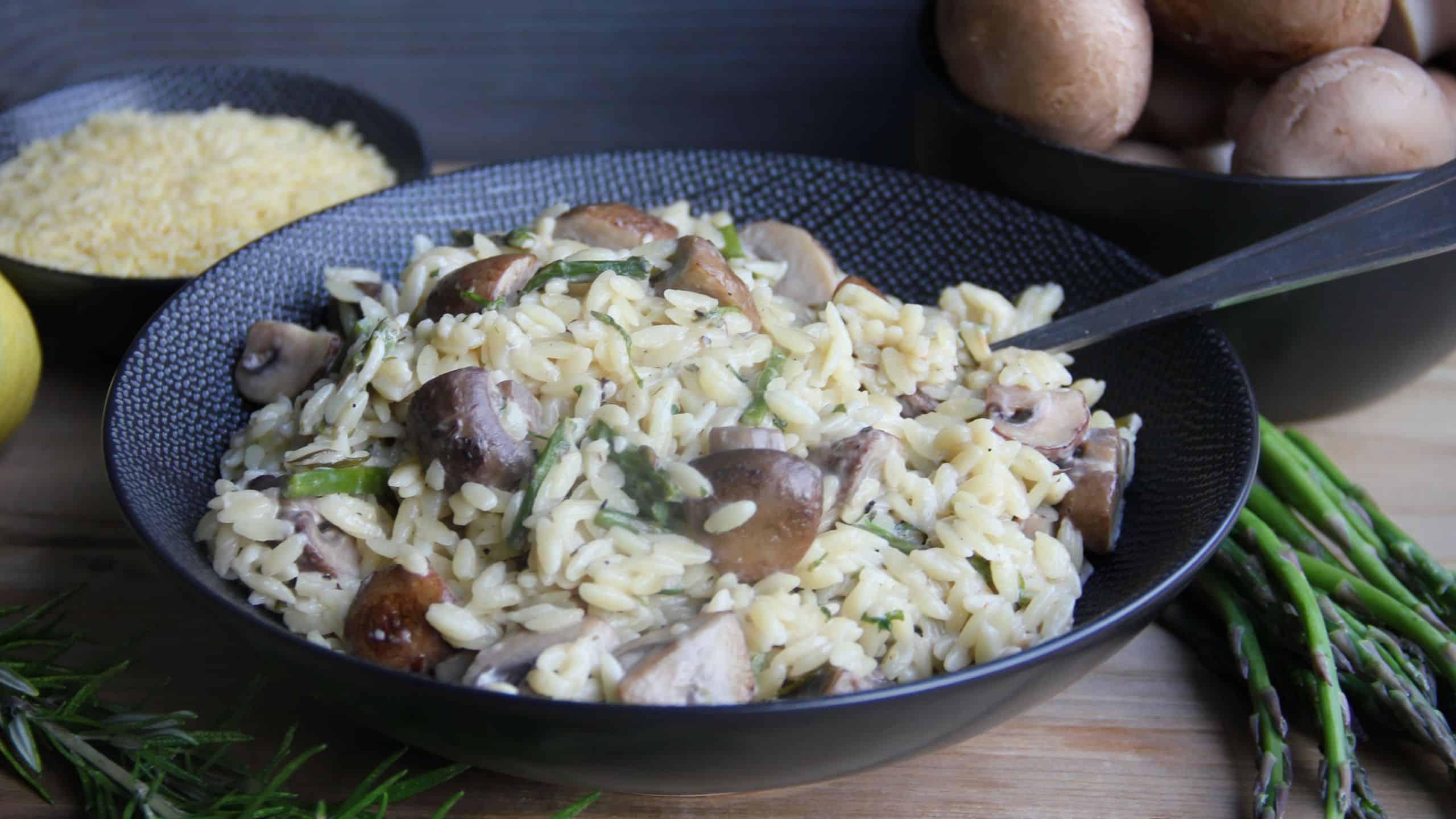 Orzo met champignons en aspergetips recept 1